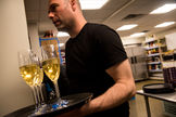 Dan Nicolaescu with a flight of sparkling wine
