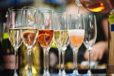Preparing flights of sparkling wines